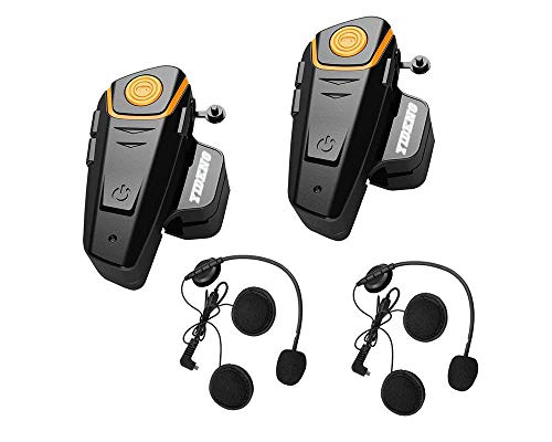 Yideng Bluetooth headset for motorcycle helmet Intercom interphone walkie-talkie for Motorcycle Motorbike Skiing GPS FM Radio Voice Command Music Handsfree to 2-3 Riders within 800m 2 Pack