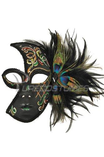 Half Green Masquerade MardiGras Mask Peacock Feathers w/Acrylic Painted Swirls