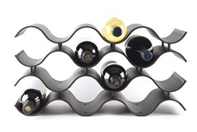 Black Wave Wine Rack for Countertop, 12 Bottles