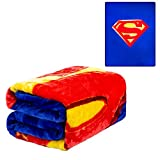 JPI DC Comics Superman Queen Plush Blanket - Superman Shield - Officially Licensed - Super Soft & Thick - Queen Size 79'' x 95'' - 100% Polyester