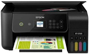 Epson EcoTank ET-2720 Wireless Color All-in-One Supertank Printer with Scanner and Copier – Black