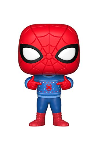 Funko Collectible Figure Pop Marvel: Holiday, Spider-Man with Ugly Sweater, Multicolor