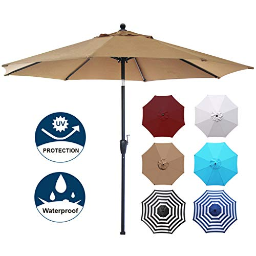 Blissun 9' Patio Umbrella Aluminum Manual Push Button Tilt and Crank Garden Parasol (Tan)