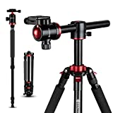 GEEKOTO Tripod, Camera Tripod for DSLR, Compact 75'' Aluminum Alloy Tripod with 360 Degree Ball Head, Professional Horizontal Tripod for Travel and Work (X25)