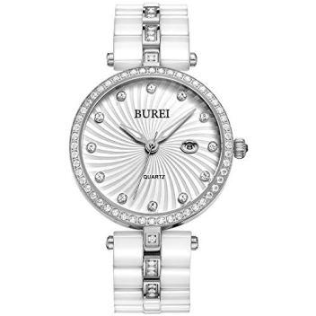 BUREI Women's Elegant Analog Quartz Wrist Watches Diamond Bezel with Ceramic Bracelet (White)