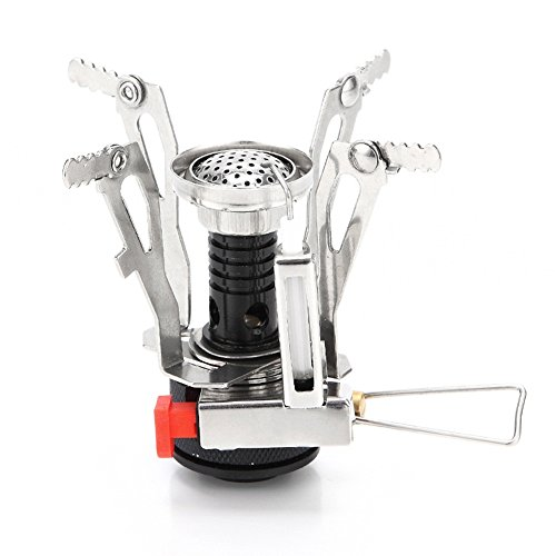 Camping Stove W Piezo Ignition Mini Gas Stove Windproof and Collapsible Camp Burner for Outdoor Backpacking (Butane/Butane Propane Canister Compatible)(Black)