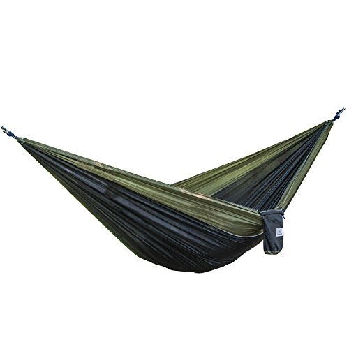 OuterEQ Portable Lightweight Nylon Fabric 400lb Double Hammock Travel Camping Hammock (Olive/Black, Approx 295 x 198cm)