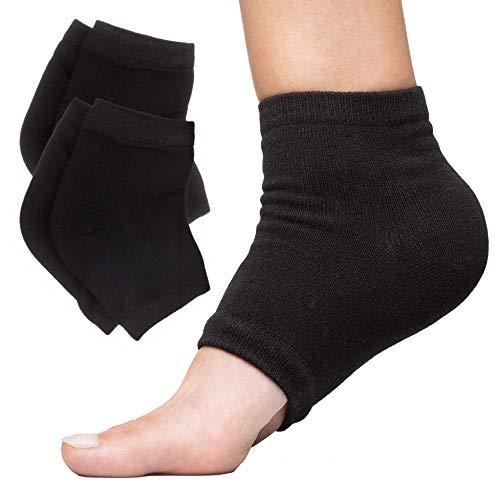 ZenToes Moisturizing Heel Socks 2 Pairs Gel Lined Toeless Spa Socks to Heal and Treat Dry, Cracked Heels While You Sleep