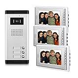 AMOCAM 3 Household Apartment Video Door Phone System, Wired Video Intercom Kit, 1 PCS Night Vision Camera, 3 PCS LCD 7 inch Monitor, Support Monitoring, Unlock, Dual Way intercom, Can See Hear