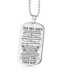 AISHOW Dad Mom to Son Dog Tag I Want You to Believe Deep in Your Heart Inspirational Message Pendant Necklace Birthday Jewelry Gift for Boys Teen