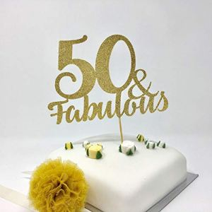 50 and Fabulous Cake Topper. Milestone Party Decoration 41tX C6CSrL