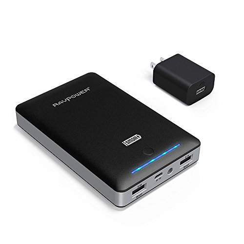 Battery Pack RAVPower 16750mAh Portable Charger Power Pack Power Bank + 2A Wall Charger (Dual USB Ports, 2A Input, 4.5A Output) Power Charger for iPhone, iPad, Galaxy S8, Note 8 and More - Black