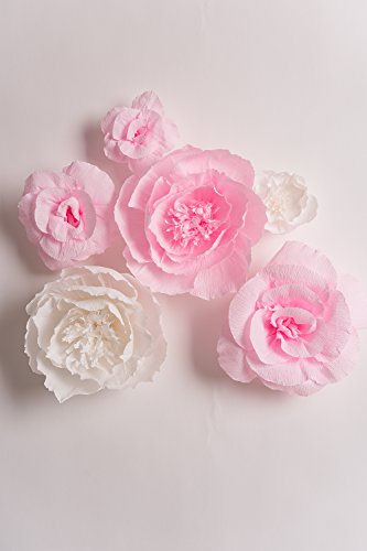 Handcrafted Flowers Large Crepe Paper Flowers Pink And White Flower