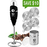 Milk Frother Handheld Coffee Art Set - Battery Operated Mini Blender - Electric Wand Drink Mixer - Cappuccino Latte Bulletproof Coffee Foamer - Stainless Steel Whisk - Powder Cocoa Shaker - Stencils