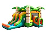 Kids Tropical Double Lane Dry Slide & Bounce House Combo, 21-Foot Long by 16-Foot Wide by 14-Foot Tall, Commercial Grade Inflatable, Blower and Stakes Included