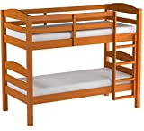 Twin over Twin Wood Bunk Bed, Pine Finish