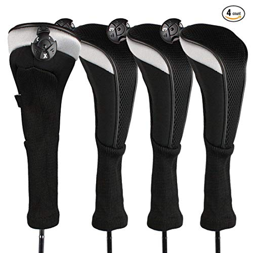 Golf Club Head Covers Woods Hybrids Value 3/4 Pack, Headcovers Men Women Long Neck 3 5 7 X with Interchangeable Number Tag, Fit All Hybrid Clubs Nike Ping Mizuno Titleist (Black, 4 Pack Hybrid Cover)