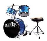 Music Alley Kids 3 Piece Beginners Drum Kit Blue inch DBJK02