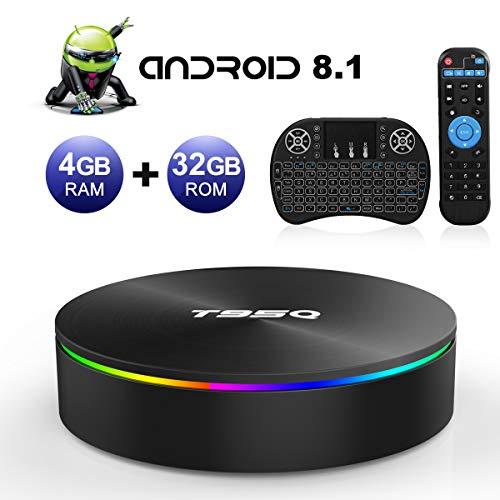Android TV Box, T95Q Android 8.1 4GB RAM/32GB ROM Amlogic S905X2 Quad Core TV Box Support 5.0 GHz WiFi Bluetooth 4.1 DLNA Mini TV Box with Wireless Mini Keyboard
