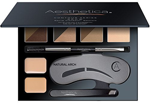 Aesthetica Brow Contour Kit - 16-Piece Eyebrow Makeup Palette - 6 Brow Powders, 5 Brow Stencils, Spoolie/Brush Duo, Tweezers, Brow Wax, Highlighter, Concealer & Instructions