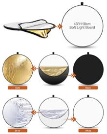 ELEGIANT-43-Inch110-cm-Light-Reflectors-for-Photography-5-in-1-Portable-Photo-Reflectors-Collapsible-Multi-Disc-with-Bag-Translucent-Silver-Gold-White-Black-for-Studio-and-Outdoor-Shooting