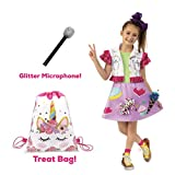 JoJo Siwa 'Sweet Sixteen' Halloween Costume, Microphone Prop, and Trick Or Treat Bag (Medium)