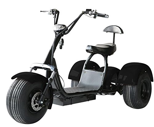 eDrift UH-ES395 Fat Tires 3-Wheel Electric Chopper Trike Scooter Moped with Shocks Harley E-Bike