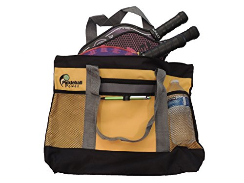 """""""Zipper Top"""" Tote Bag features a secure zipper top with a large main compartment which will easily hold at least THREE Pickleball paddles as well as balls, clothes, and numerous personal items. New/Embroidered - Yellow & Grey - PICKLEBALL MARKETPLACE"""