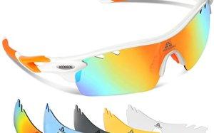 HODGSON Polarized Sports Sunglasses with 5 Interchangeable Lenses for Men Women Cycling Baseball Running Glasses, TR90 Unbreakable -Orange