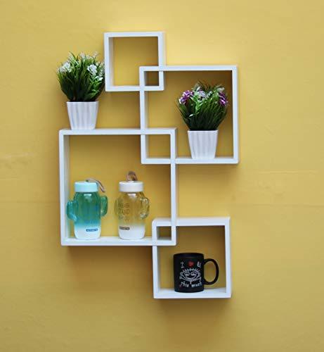 41u09F605NL Worthy Shoppee Wooden Interweave Floating Wall Mounted Shelves, Wall Mounted Floating Shelves for Living Room Bedroom Entryway Hallway Bathroom,White (Size: 47 cm X 10 cm X 65 cm, White)