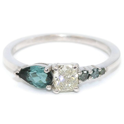 engagement ring diamond green sapphire rings blue peacock