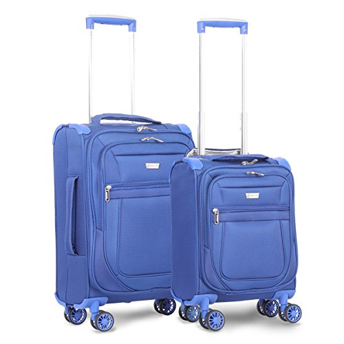 "Aerolite Carry On 21"" & Underseat 17 Inch Ultra-Lightweight Spinner Suitcase Set for Delta, American, United & Southwest Airlines (Midnight Blue)"