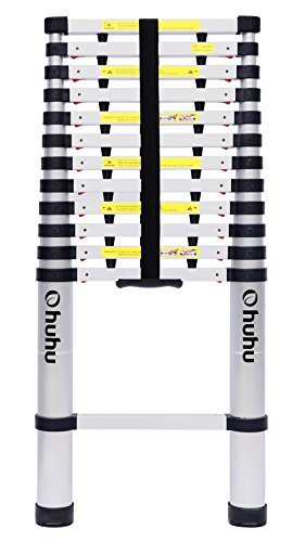 Ohuhu 12.5ft Aluminum Telescopic Extension Ladder, EN131 Certified Extendable Telescoping Ladder with Spring Loaded Locking Mechanism Non-slip Ribbing 330 Pound Capacity