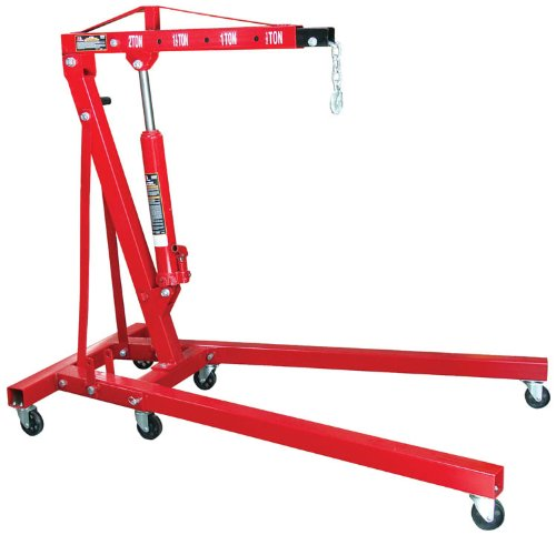 Torin Big Red Steel Engine Hoist / Shop Crane with Foldable Frame, 2 Ton (4,000 lb) Capacity