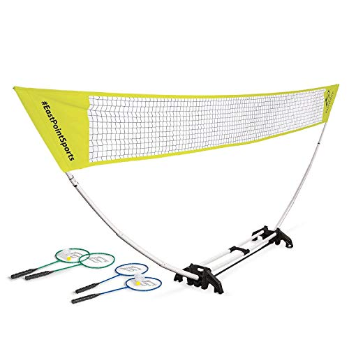 EastPoint Sports Easy Setup Badminton Net Set -5 Feet- Features Carry Storage Built-in Base, Weather Proof Material - Includes Badminton Net, 4 Rackets and 2 Shuttlecocks (Color May Vary)