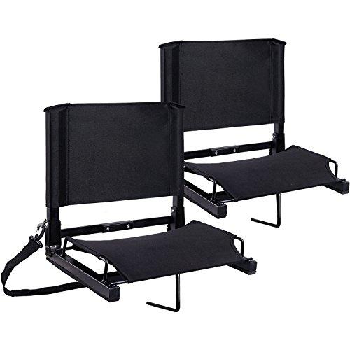 Stadium Seats Ohuhu Bleacher Chairs Seat with Backs and Cushion, Folding & Portable, Bonus Shoulder Straps, 2 Pack