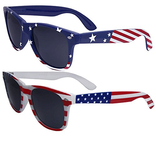 2 Pairs Bulk American Sunglasses USA Flag Classic Patriot