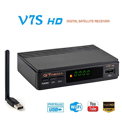 FTA Satellite Receiver DVB-S2 TV Digital Sat Decoder Full HD 1080p with USB WiFi Antenna for Network Sharing Support USB PVR Ready, CCcam, Newcam, Youtube, PowerVu, Dre & Biss Key