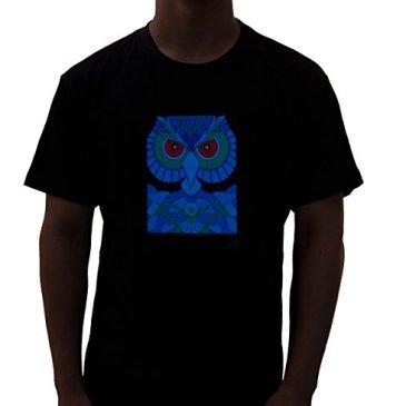 Rave Raptor Sound Activated Shirt EDM Owl LED Shirt Light Up