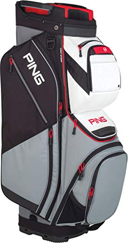 PING 2019 Pioneer Cart Bag(Silver/White/Scarlet)