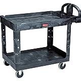 Rubbermaid Commercial Heavy-Duty 2- Shelf Utility Cart, Ergo Handle, Lipped Shelves, Medium, Black (FG452088BLA)