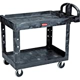 Rubbermaid Commercial Heavy-Duty 2- Shelf Utility Cart, Ergo Handle, Lipped Shelves, Medium, Black (FG452088BLA)