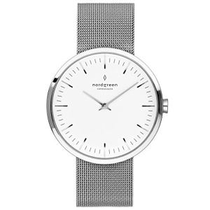 Nordgreen Unisex Infinity Scandinavian Silver Analog Watch 40mm (Large) with Silver Mesh Strap 10082