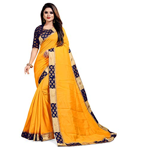 IkonikbeZ Women's Chanderi Silk Saree With Blouse Piece