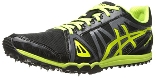 ASICS Men's Hyper XC Cross Country Spike, Black/Flash Yellow/Carbon, 11.5 M US