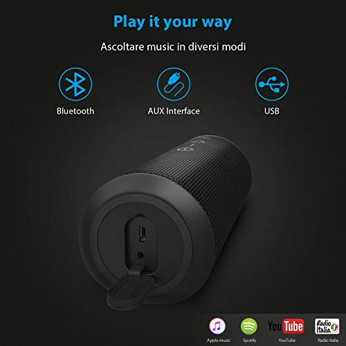 Zamkol Cassa Altoparlante Bluetooth 24W, IPX6 Portatile Wireless Speaker TWS & AUX & USB, 4.2 Bluetooth Subwoofer Shockproof Speakers, Audio Stereo 360 per Smartphone, Computer, TV, Viaggio