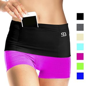 Stashbandz Unisex Travel Money & Running Belt, Fanny & Waist Pack, 4 Large Secure Pockets & Zipper, Fits Phones Passport & More, Wide Spandex, USA Made