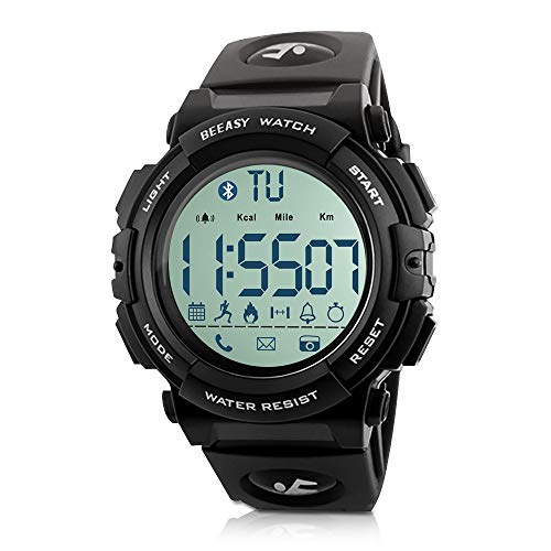 Beeasy Mens Sport Watch Waterproof Outdoor Digital Military Smart Watches Bluetooth Fitness Activity Tracker Watch with Pedometer Calorie Stopwatch Call SMS Reminder Watch for Men Support iOS Andriod