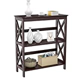 Yaheetech 3 Tier Espresso Finish Wood Entryway Table Bookcase Bookshelf Display Rack Stand Storage Shelving Unit