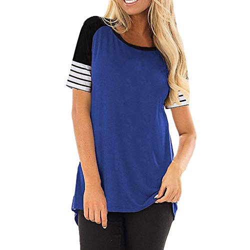 iLOOSKR Blouse Women Casual Striped Solid Patchwork Short-Sleeve Crew Comfortable T-Shirt Tops(Blue,2XL)